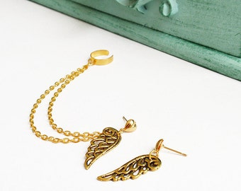 Gold Hearts and Wings Ear Cuff (Pair)