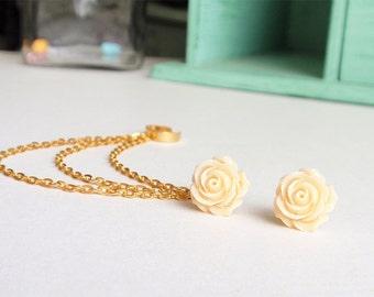 Peach Rose Spring Bloom Triple Gold Chain Cartilage Earring Ear Cuff (Pair)