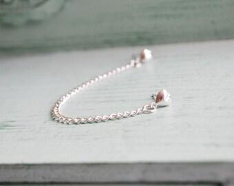Silver Heart Single Chain Cartilage Earring (Single-Side)