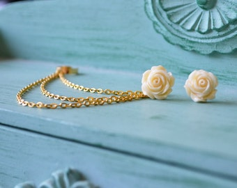 Cream Rose Bloom Gold Triple Chain Ear Cuff (Pair)