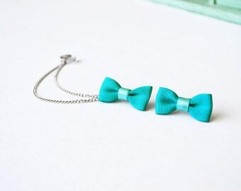 Aquamarine Bow Silver Ear Cuff Earrings (Pair)