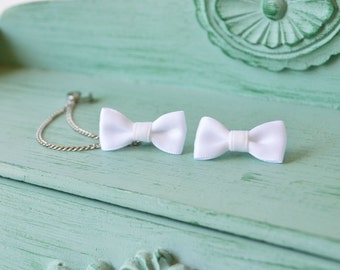 Pure White Bow Chain Ear Cuff Earrings (Pair)