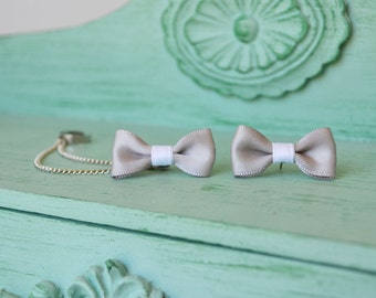 Gray Bow Double Silver Ear Cuff (Pair)