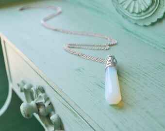 Polished Opalite Moonstone Pendant Silver Chain Necklace