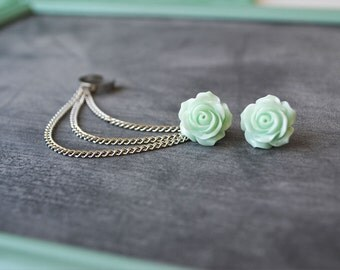 Mint Green Rose Bloom Triple Silver Chain Ear Cuff (Pair)