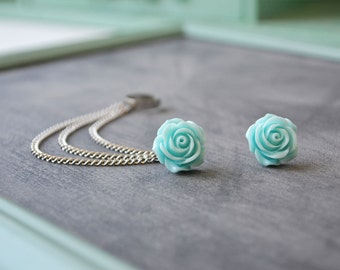 Sweet Blue Rose Bloom Triple Silver Chain Ear Cuff (Pair)