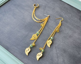 Gold Leaves with Gold and Amber Beads Double Chain Ear Cuff (Pair)