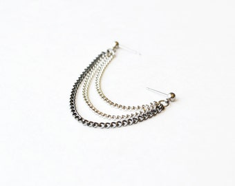 Silver and Black Triple Chain Double Pierce Cartilage Earring (Single-Side)