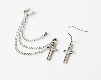 Hollow Cross Double Pierce Ear Cuff Earrings (Pair)
