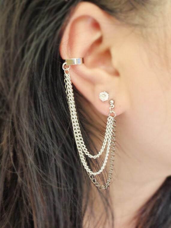 Silver and Black Triple Chain Cuff Earrings (Pair)