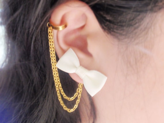 Ivory Bow Gold Chain Ear Cuff