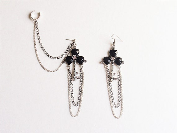 Black Key and Dangling Silver and Black Chains Cuff Earring (Pair)