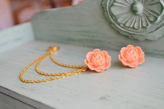 Large Tangerine Flower Triple Gold Chain Ear Cuff (Pair)
