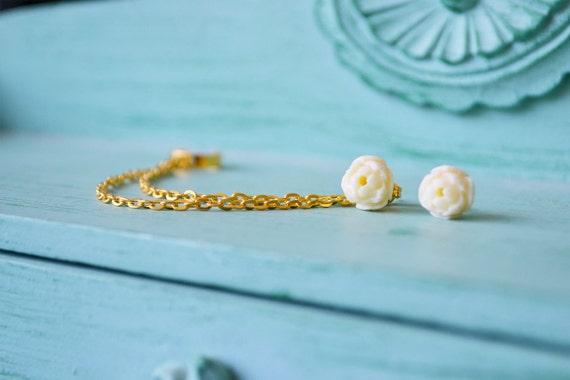 Cream Rose Bud Gold Double Chain Ear Cuff (Pair)