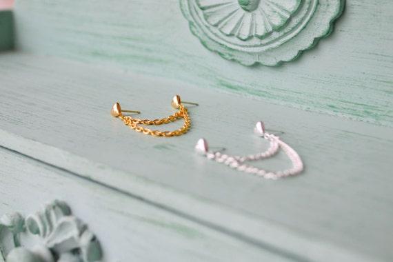 Heart Chain Double Pierce Cartilage Earring (Set of 2)