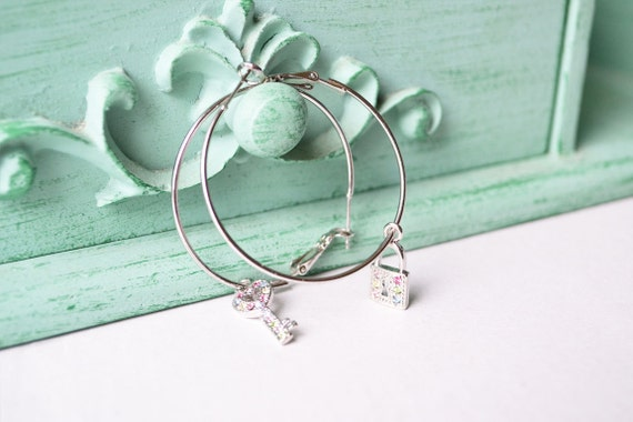 Rainbow Lock and Key Silver Hoop Earrings