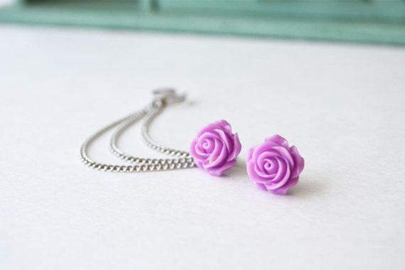 Magenta Rose Bloom Triple Silver Chain Ear Cuff (Pair)