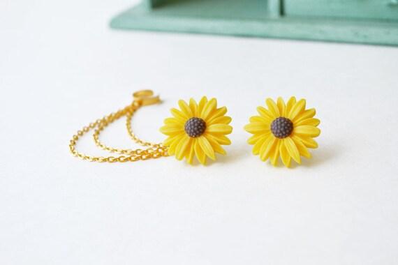 Yellow Sunflower Triple Gold Chain Cuff Earrings (Pair)