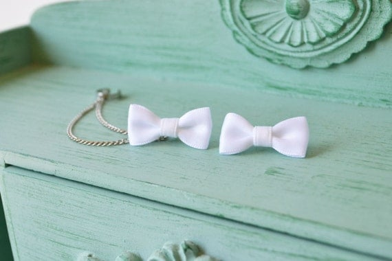 Pure White Bow Chain Ear Cuff Earrings (Pair)