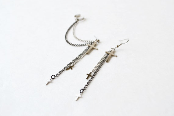 Silver Crosses and Black Chains Ear Cuff (Pair)