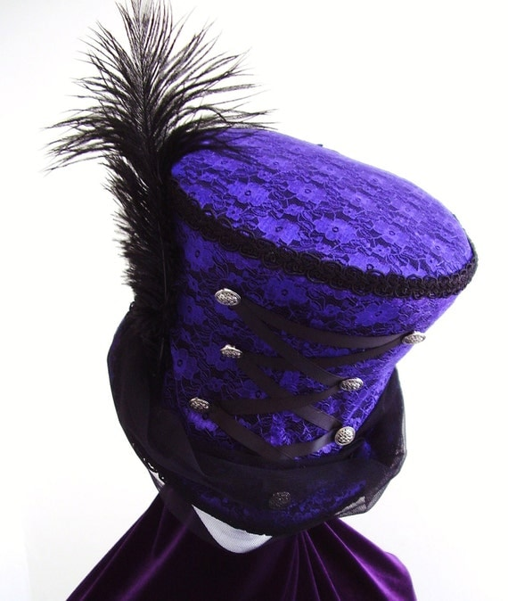 Victorian mad hatter  purple corset lace Top Hat