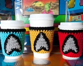 Star Trek Cup Cozy Set includes Captain Kirk, Spock and red shirt cozies