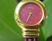 Women's pink metal bracelet fashion watch