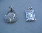 Lot of 2 French Antique Silver Metal Grotte Lourdes Religious Medals Charms Mixed Jesus Christ, Virgin Mary Pendant