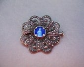 French Vintage Filigree Style Pin, Brooch, Enamel Notre Dame