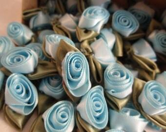 Roses Pale Blue Satin 10pcs