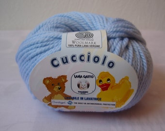 """SALE 50 % OFF Pure New Wool Extrafine """"Cucciolo"""" Baby Blue gr 150"""