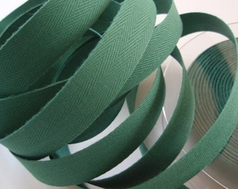 "Twill Tape Cotton 5/8"" width Green 10 Yards"