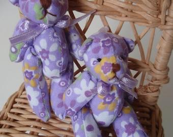 SALE 50% OFF 12 Mini Lilac Cotton Bears for Decoration