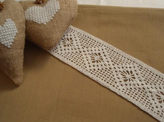 "Crochet Lace Trim Cotton Ivory Shabby Chic  Edge  2 3/4"" width 1 yard"