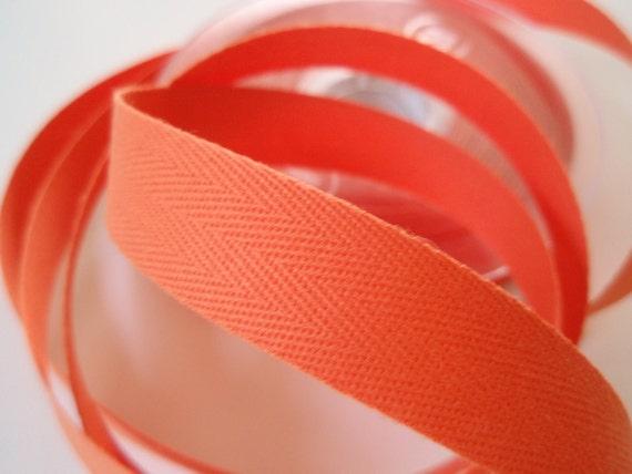 "Twill Tape Orange Cotton 10 Yards 5/8"" width"