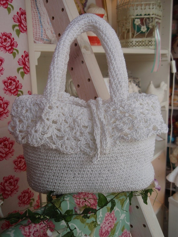 Hand Crocheted White Small Purse with Lace