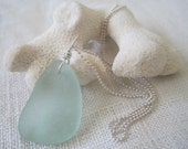 Beach Glass Necklace ---Antique Sea Foam, Sterling Silver