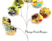 Fabric Flower Earrings -- Eclectic mix of Fabric Bundled into a Mini  Flower
