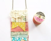 Cottage Chic Pastels Fringe Necklace in Vintage Inspired Textiles -- Summer Fashion 2012