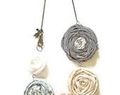 Fabric Flower Rosette Necklace -- Soft Coral, Slate, Sand , White & Driftwood Vintage Inspired Textiles Necklace, OriginalOOAK Handmade
