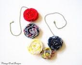 Fabric Flower Rosette Necklace -- Navy, Gold, Red & White Textiles Necklace,  OriginalOOAK Handmade