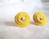 Mustard Yellow Earrings,Wool Earrings,Wool Studs,Mustard Studs,Wool Earrings,Textile Earrings,Textile Jewelry,Fall Earrings,Clip On Earrings
