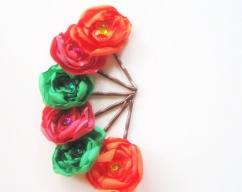 Flower Hair Pins, 2pc. Flower Hair Accessories,Bridal Hair Accessories,Hair Jewelry,Flowers for your Hair,Wedding Accessories, Custom Colors