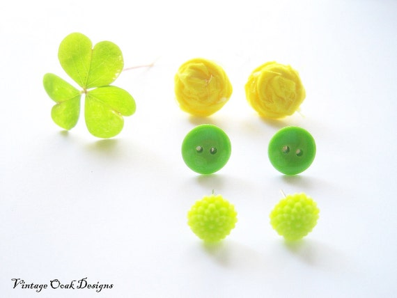 SALE 10.00 -- Spring Greens & Yellow Earring 6pc. Set, Fabric Rosettes, Mums and Button Earrings