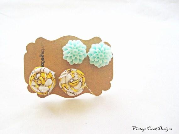 Lemon & Mint Earrings Set - Lemon Rosettes and Mint Resin Mum earrings - Dynamic Duo Summer Trends