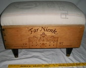 """MEDIUM Wine Crate Ottoman - Made to Order -  21.5"""" wide x 13.5"""" deep x 15"""" tall"""