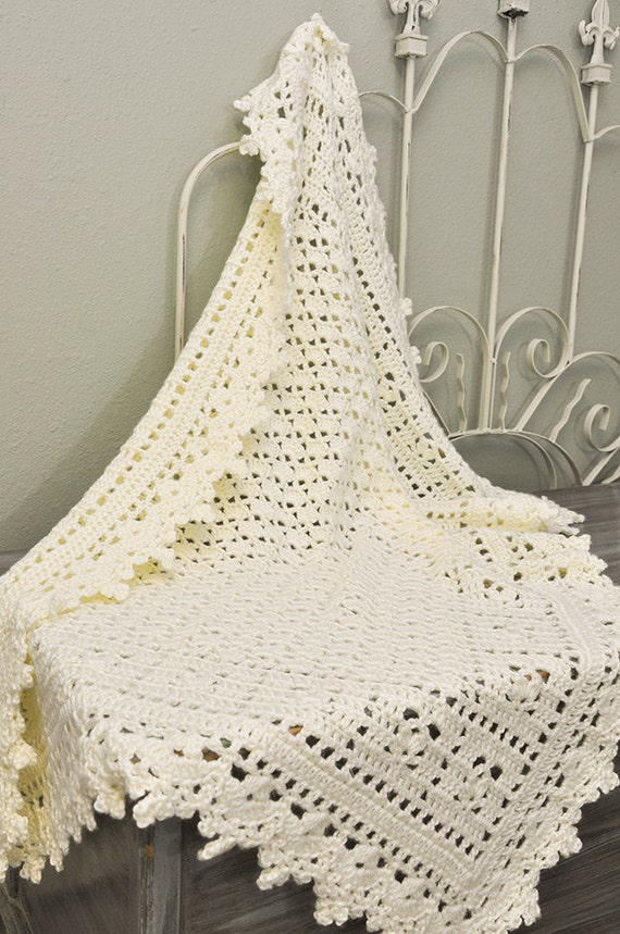Crochet Baby Blanket - Cream Lacy Heirloom Blanket - READY TO SHIP