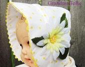 Baby Bonnet, Flower Bonnet, Daisy Hat,  Baby Hat,Baby Photography Prop