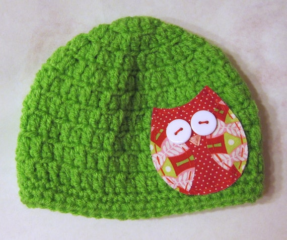 Crochet Hat for Baby with Owl Applique Green Red and READY to SHIP