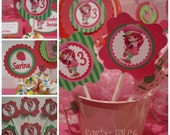 """Strawberry Shortcake birthday party Personalized cupcake toppers favors tags custom Printable 2"""" circles  PartyTales"""